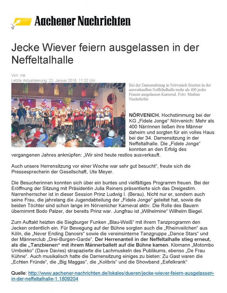 2018-01-23 Jecke Wiever feiern ausgelassen in der Neffeltalhalle
