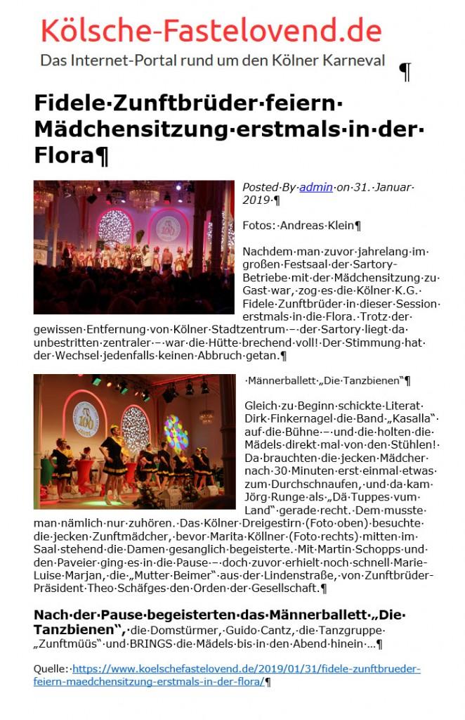 2019-01-31 Fidele Zunftbrüder feiern Mädchensitzung erstmals in der Flora