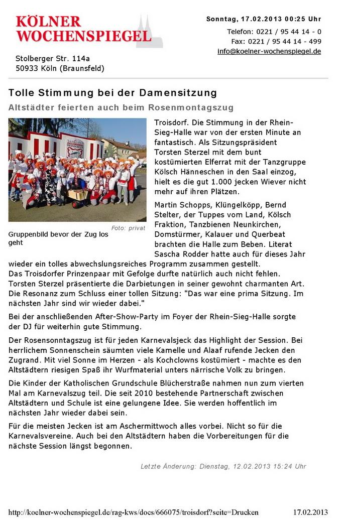 2013-02-07 koelner-wochenspiegel - Troisdorfer Altstaedter